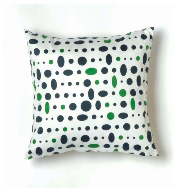 Small Green Decorative Pillow : Small Dot Cosmic Pillow, Navy, Green on White - Contemporary - Decorative Pillows - by Design Public