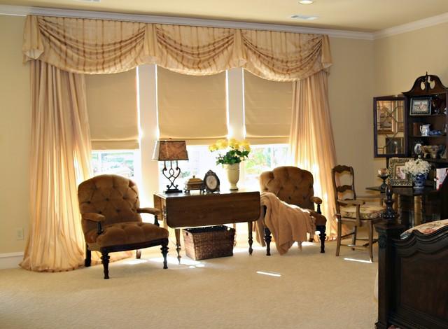 master bedroom window treatments traditional window