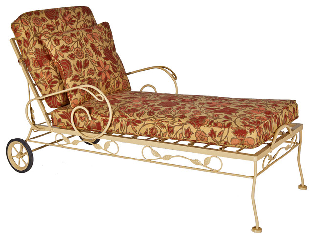 Brown jordan wrought iron chaise midcentury outdoor for Brown jordan chaise lounge