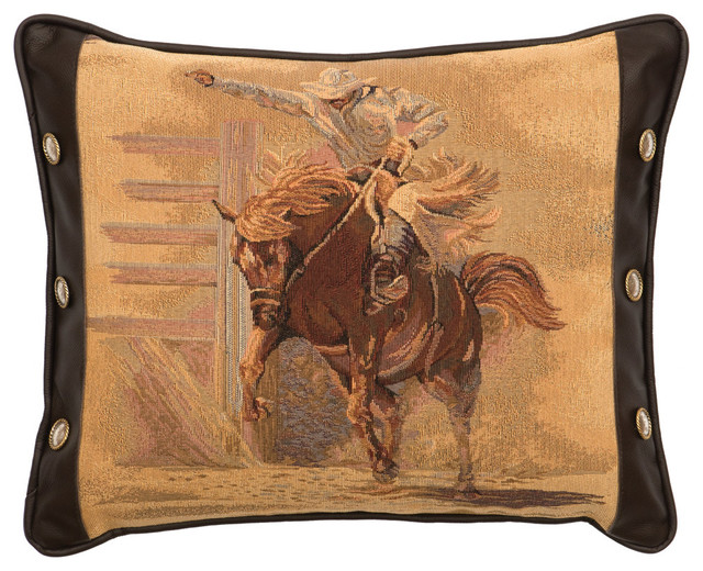 Southwestern Decorative Pillows : Tombstone Bronco Rider Pillow with Fabric Back - Southwestern - Decorative Pillows - by Wooded ...