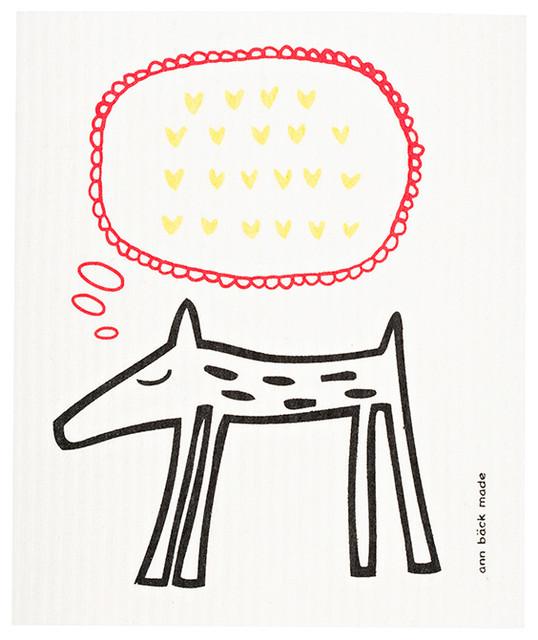 Swedish Dishcloth, Doggy, Doggy With Hearts scandinavian-dish-towels
