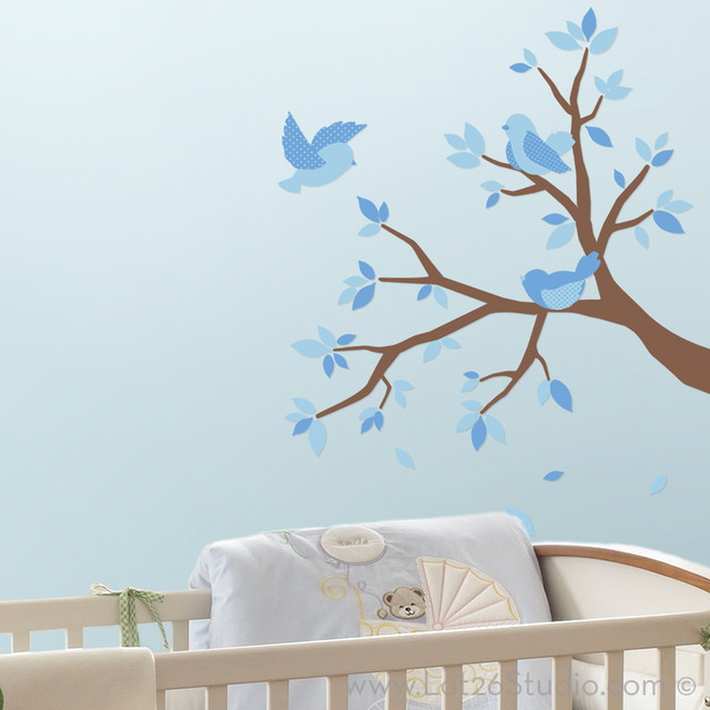 Blue Sweet Birds & Branches Wall Decals wall-decals