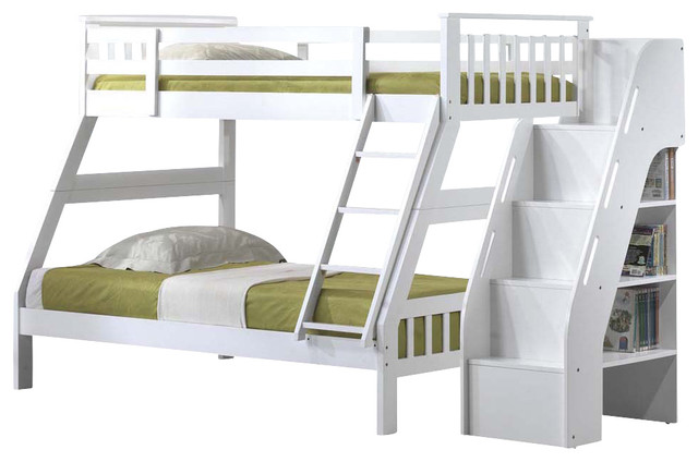 Youth Bunk Bed With Attached Stairway Bookcase White