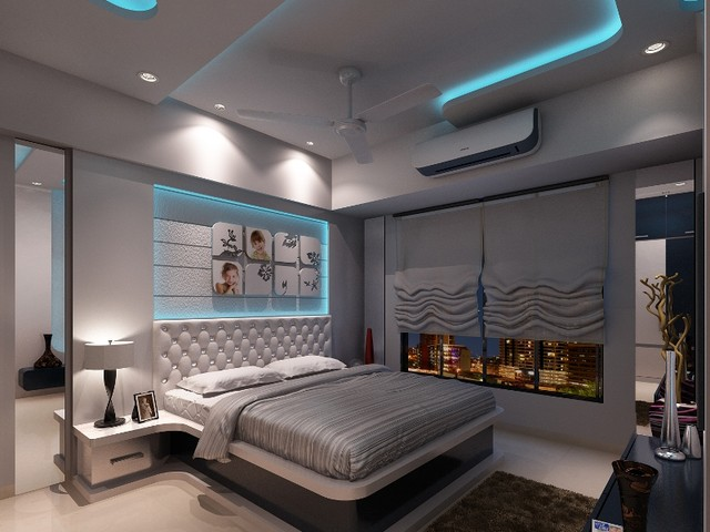High end residential interior design project at borivali High end bedroom design