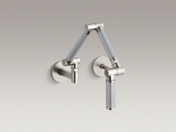 Kohler Karbon R Articulating Two Hole Wall Mount Kitchen Sink Faucet With 13 1 Contemporary