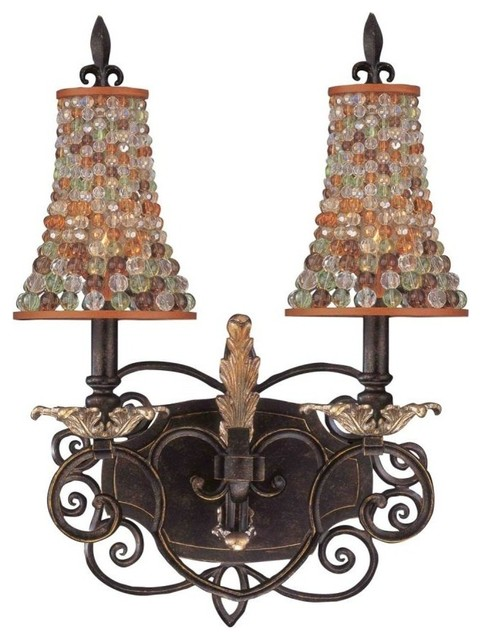 Colored Glass Vanity Light : Kalco-2-Light Sienna Bronze Color Beaded Tapered Glass Vanity-2562SB/S292 - Traditional ...
