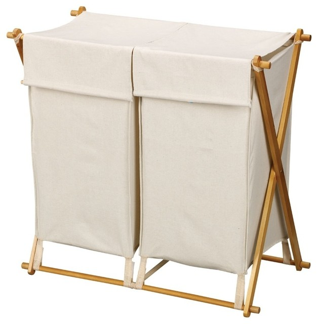 30 in x frame wood double hamper contemporary hampers by shopladder - Wooden hampers for laundry ...