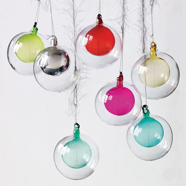 Double Glass Sphere Ornament - Modern - Christmas ...