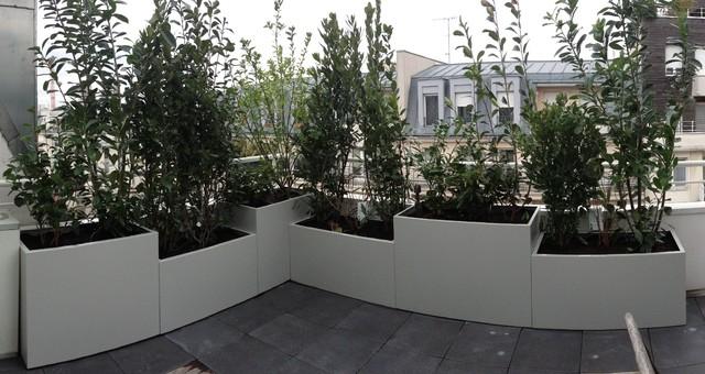 Jardini res sur mesure en m tal thermolaqu moderne pot et - Jardiniere exterieure ...