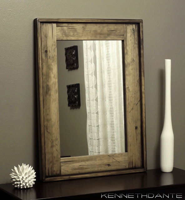 Wood framed mirrors rustic wall mirrors milwaukee by kennethdante woodworks Frames for bathroom wall mirrors