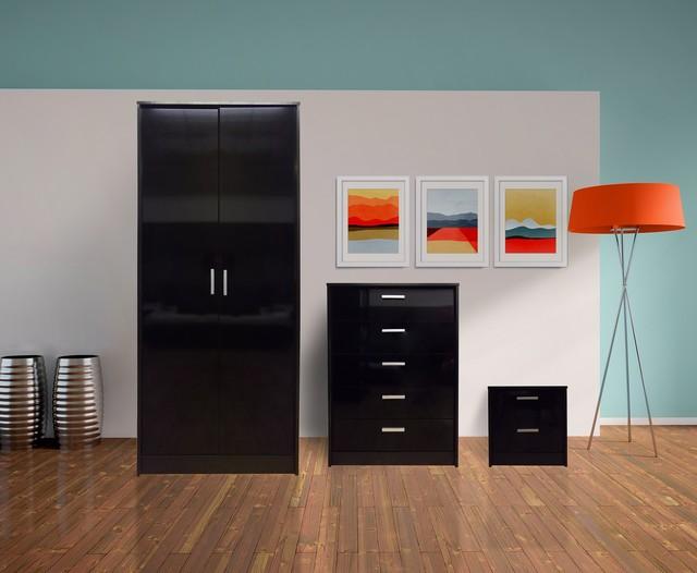 Khabat high gloss bedroom furniture set black gloss for Black gloss bedroom furniture