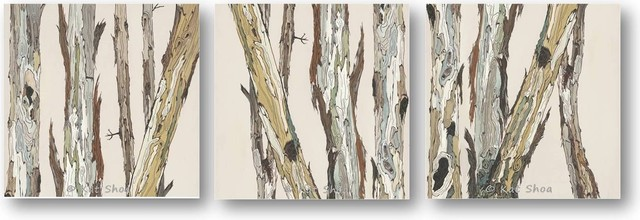 Very large canvas wall art tree painting trunks bark art for Tree trunk wall art
