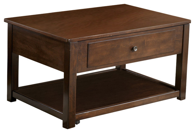 Ashley Marion Dark Brown Lift Top Cocktail Table Coffee