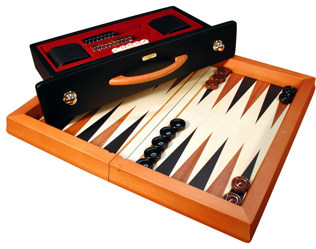 World Wise Imports Brown And Black Wood Flat Backgammon