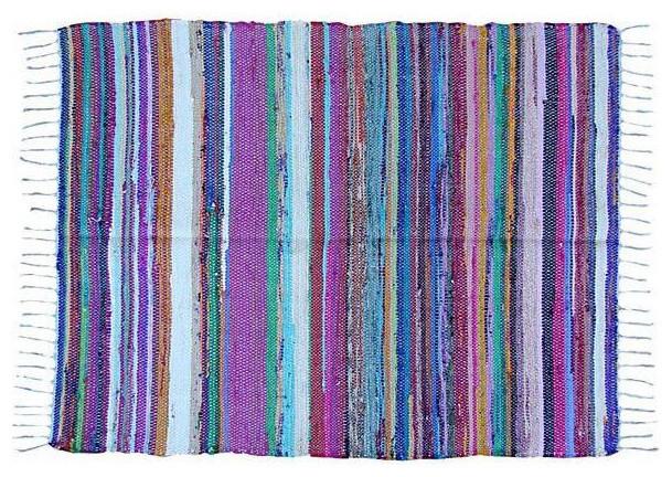 Multi Colored Moroccan Boucherouite Carpet Mediterranean