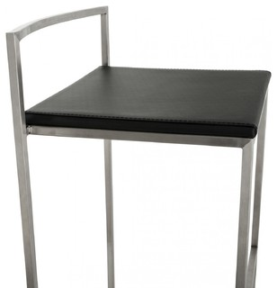 Kendall Black Bar Stool Frame In Brushed Stainless Steel Contemporary Bar Stools And Kitchen