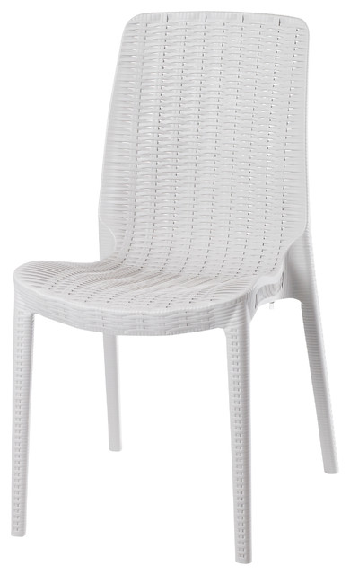 ORBGT Rue Chair White Contemporary Outdoor Dining Chairs by Strata Fur