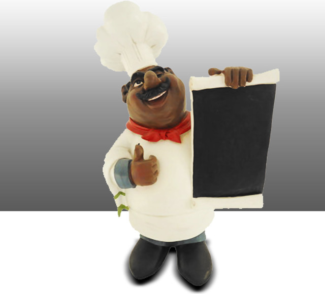 black chef kitchen statue with menu board table art decor traditional bulletin boards and. Black Bedroom Furniture Sets. Home Design Ideas