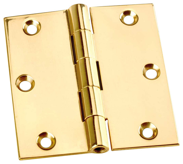 "Square Cabinet Hinge, Solid Brass, 3""x3"" - Transitional - Hinges - by ..."