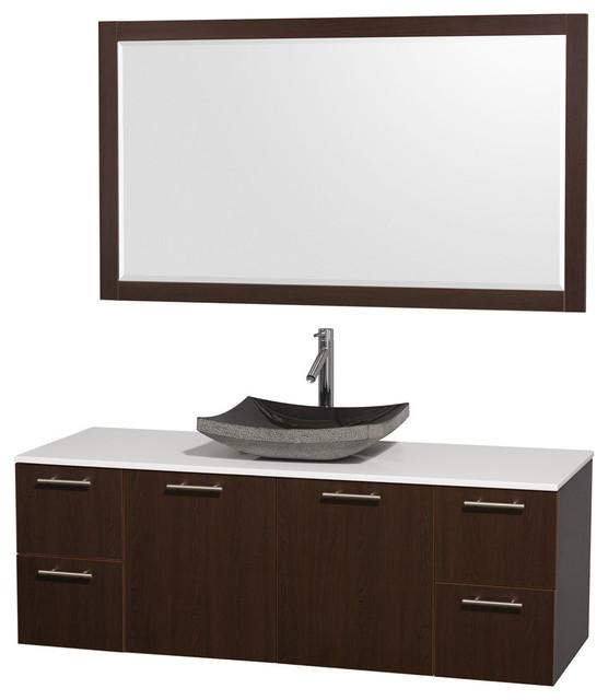 Bathroom Vanity Set With Single Black Granite Sink