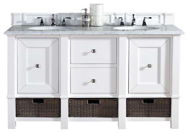 Madison 60 cottage white double vanity carrera white - White cottage style bathroom vanities ...