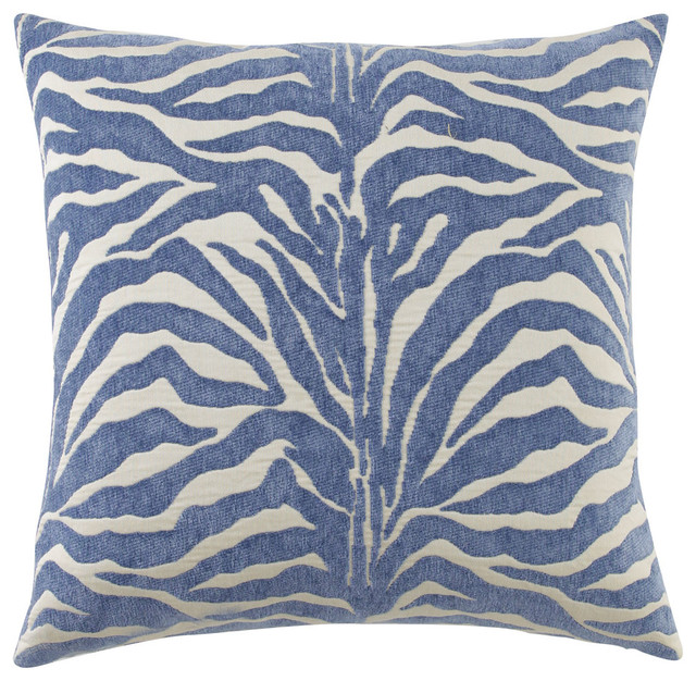 Modern Blue Outdoor Pillows : Zebra Azul Outdoor Pillow - BLUE - Contemporary - Outdoor Cushions And Pillows - by Horchow