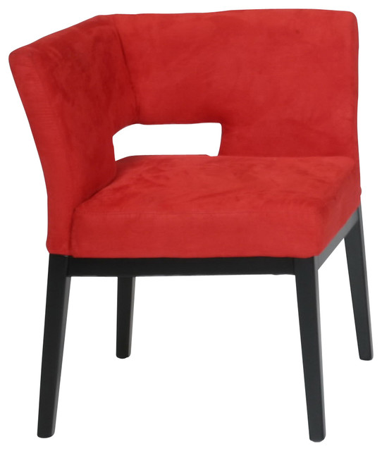 Microfiber Corner Chair Red Contemporary Armchairs