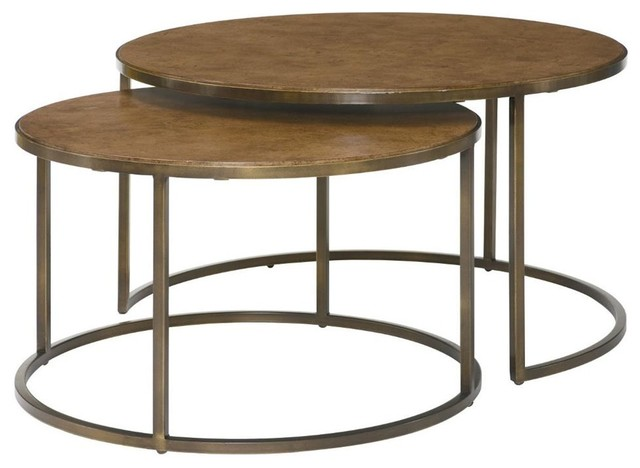 Round nesting table in khaki travertine finish for Modern nesting coffee tables