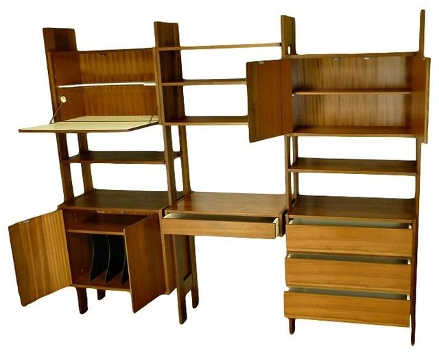 mid century free standing shelving unit midcentury. Black Bedroom Furniture Sets. Home Design Ideas