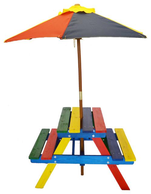 Junior rainbow picnic table set with umbrella for kids - Children s picnic table with umbrella ...
