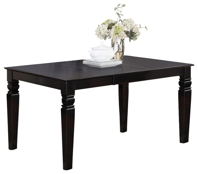 Weston Rectangular Dining Table With 18 In Butterfly Leaf In Black Traditional Dining Tables
