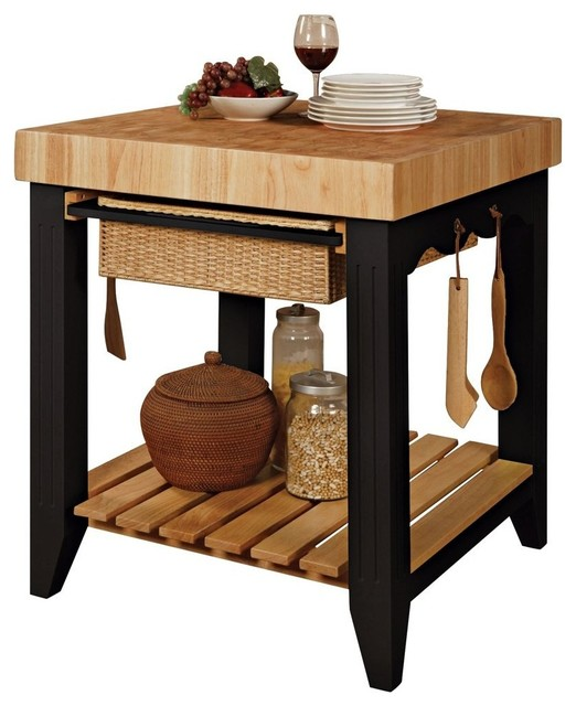 Powell color story black butcher block kitchen island   moderno ...