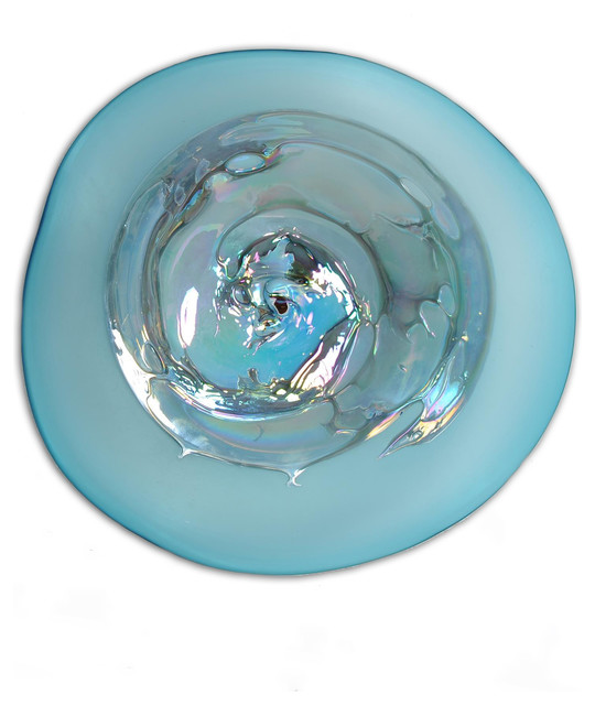 Colored Glass Wall Decor : Aqua splatter grande art glass wall plate contemporary