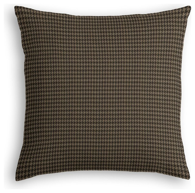 black tan small houndstooth custom throw pillow