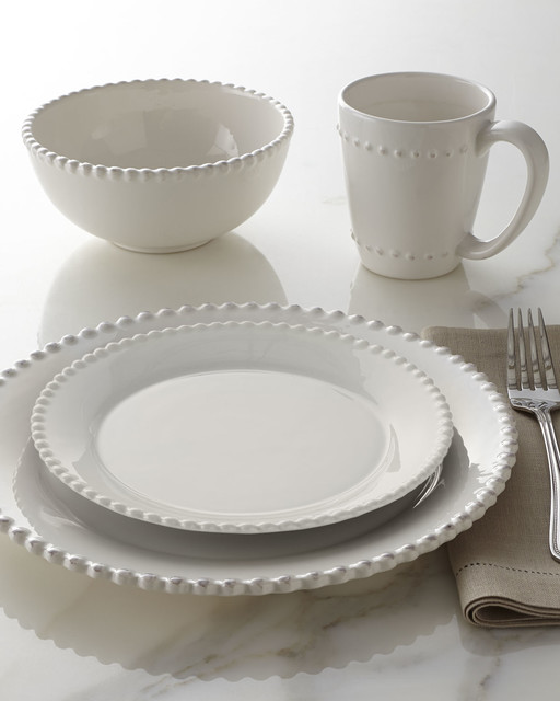 16 Piece Bianca Beaded Edge Dinnerware White