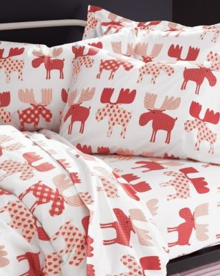 Garnet Hill Chrismoose Flannel Bedding Double Moose
