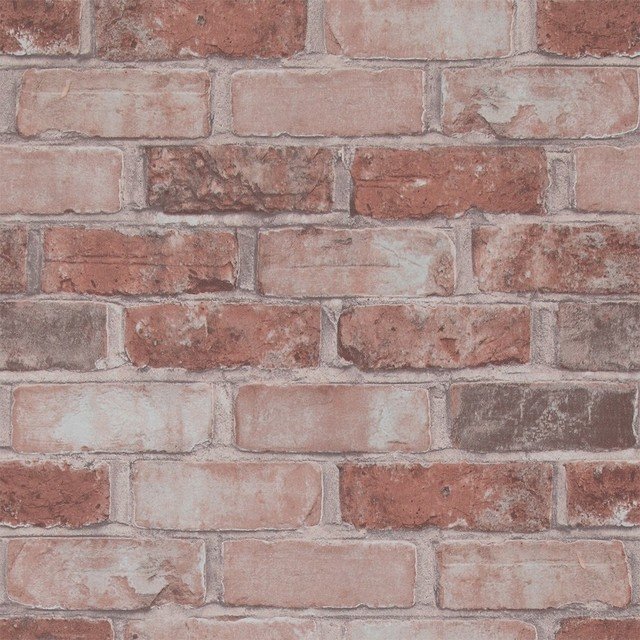 Brick Design Wall Covering : Running brick wallpaper marsala sample by
