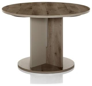 Sha table de repas ronde avec allonge bicolore 113cm - Table ronde pliante avec rallonge ...
