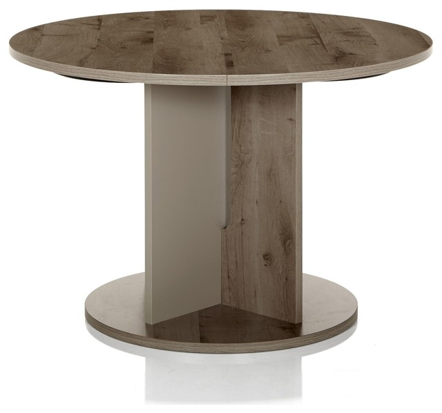 Sha table de repas ronde avec allonge bicolore 113cm for Table ronde 100 cm avec rallonge