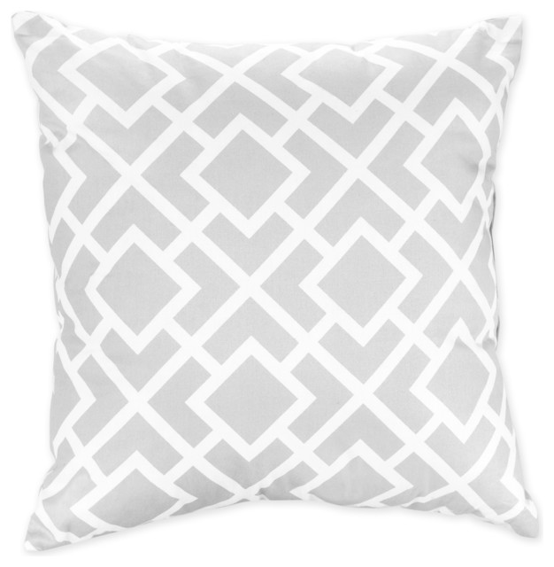 Throw Pillow Overstock : Sweet JoJo Designs Gray and White Diamond Decorative Throw Pillow - Contemporary - Scatter ...