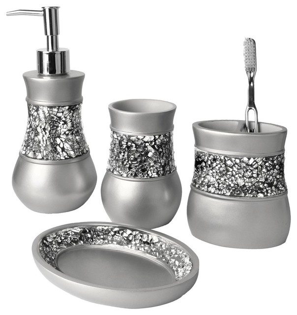 Crackled glass nickel 4 piece bath accessory set for Blue crackle glass bathroom accessories