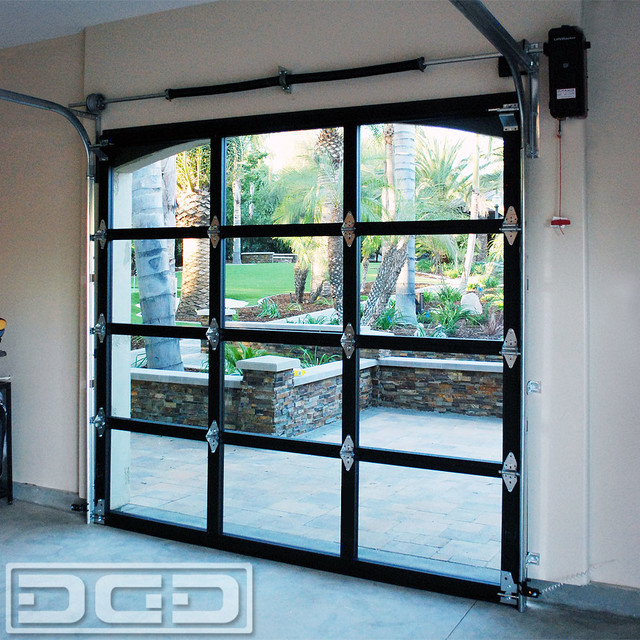 Full-View Glass & Metal Garage Doors for a Spanish Residence in La Habra Heights - Eclectic ...