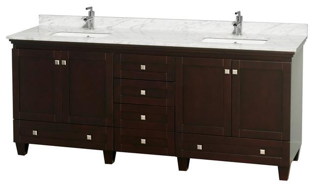 80 Double Bathroom Vanity In Espresso Carrera Marble Countertop Sinks Contemporary