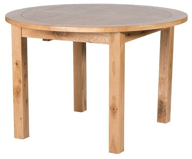 Willis and gambier originals normandy oak round fixed top for Traditional dining table uk