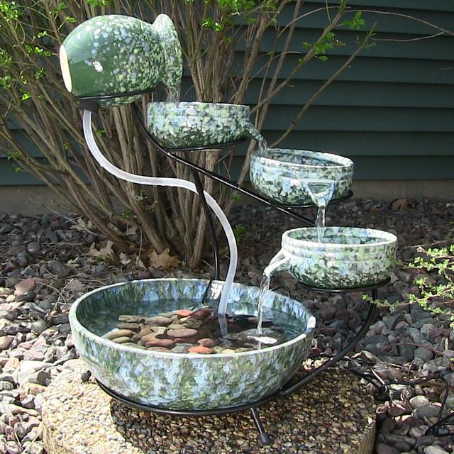 Outdoor Classics Decorative Green Ceramic Cascade Solar