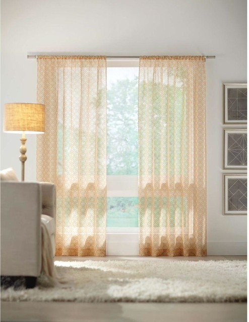 Home Decorators Collection Curtains Drapes Gold Rod Pocket Printed Sheer Contemporary Curtains