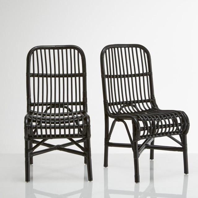 chaises en canne de rotin malu lot de 2 contemporain. Black Bedroom Furniture Sets. Home Design Ideas