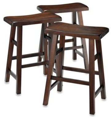 Parker 3 Piece Saddle Stool Set Traditional Bar Stools