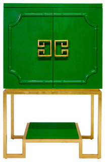 Worlds Away Anna Cabinet, Green Lacquer/Gold Leaf Base - Asian - Wine And Bar Cabinets