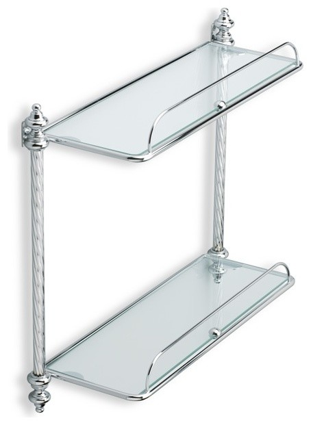 Double Glass Bathroom Shelf Chrome Traditional Bathroom Cabinets Shelves By Thebathoutlet